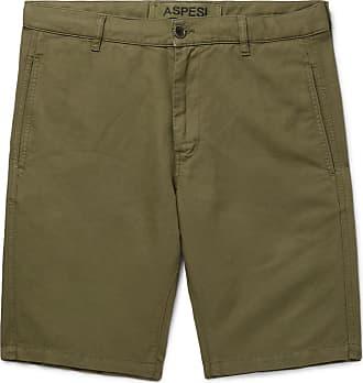 Aspesi Cotton And Linen-blend Twill Shorts - Green