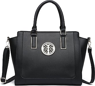 LeahWard Large Size Tote Bags For Women Nice Faux Leather Shoulder Bag Handbags For School Office Holiday 00349 (BLACK)