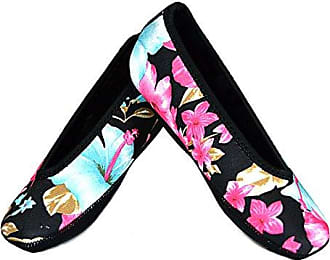 Nufoot Ballet Flats Womens Shoes Best Foldable & Flexible Flats Slipper Socks Travel Slippers & Exercise Shoes Dance Shoes Yoga Socks House Shoes Indoor Slippers Pink and Blue Flowers X-Large