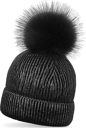 styleBREAKER Warm Metallic Knit Bobble hat with Detachable Faux Fur pom-pom, Winter Fur pom-pom Beanie, Ladies 04024138, Color:Black