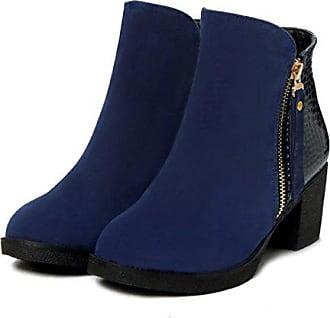 3d0ded22ba5c Xianshu Damen Kurzschaft Höhe Sehrs Stiefel Olympic und Herbst Schuhe mit  Reißverschluss (Blau-35