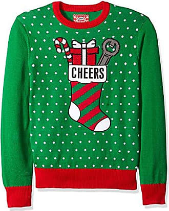 Hybrid Mens Cheers Ugly Christmas Sweater with Bottle Holder Applique, Kelly Green, 2XL