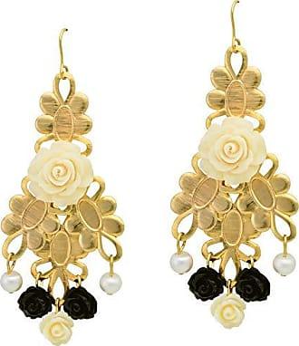Tinna Jewelry Brinco Dourado Rosas Resina E Pérolas (Preto)