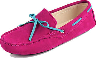 MGM-Joymod Ladies Womens J1016 Casual Slip-on Knot style2 Rose Suede Leather Walking Driving Loafers Flats Moccasins Hiking Shoes 6.5 M UK