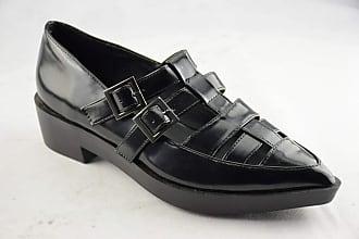 Truffle Mabel Black Patent Sandals Open Shoes Pointed Heel Buckles[Ladies UK 5 / EU 38]
