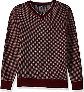 Nautica Mens Long Sleeve Jacquard V-Neck Sweater with Tipping, Royal Burgundy, XX-Large