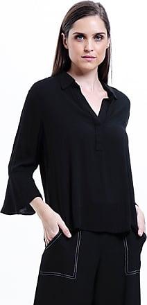 101 Resort Wear Camisa 101 Resort Wear Lisa Crepe Polo Mangas Flare 34 Preto