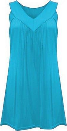 Abetteric Túnica feminina Abetteric sem mangas gola V plissada cor pura conforto camiseta túnica, Light Blue, US 3X Large