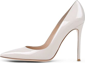 EDEFS Womens Court Shoes Stiletto High Heels Slip On Pumps Pointed Toe Shoes White Size EU42