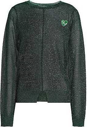 Zoe Karssen Zoe Karssen Woman Appliquéd Metallic Open-knit Top Emerald Size XS