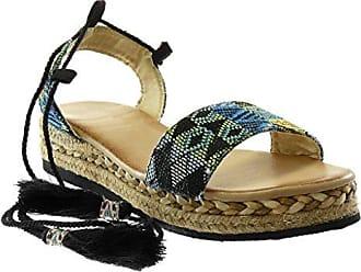 588fdbd8a784 Angkorly Damen Schuhe Sandalen Espadrilles - Plateauschuhe - knöchelriemen  - Bestickt - Seil - Geflochten Keilabsatz