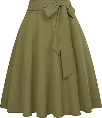 Belle Poque Vintage Ladies Casual Cotton A-Line Party Wiggle Skirts with Pockets Olive Green(561-5) Large