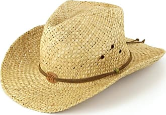 Hawkins Straw cowboy hat with leather band detail and three horses badge. Natural