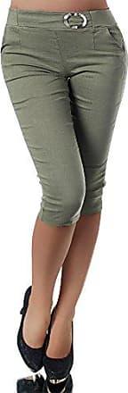 N953 Damen Caprihose Treggings Leggings Stoffhose Sommerhose Knielang 3//4 Capri