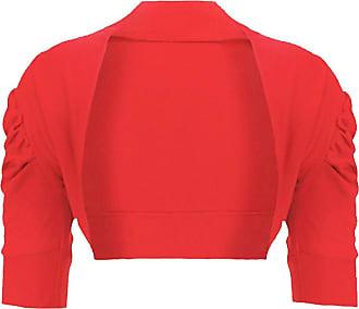 Noroze Womens Ruched Sleeve Cropped Bolero Cardigan Shrug Plus Sizes (18, Red)