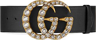 bf21b8e9d Gucci Cinturón de Piel con Hebilla de Doble G de Cristal