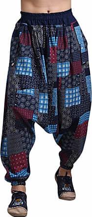 QIYUN.Z Mens Boho Harem Hakama Casual Baggy Linen Trousers Loose Patchwork Japanese Samurai Pants Red