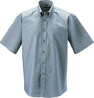 Russell Athletic Russell Collection Mens Button down Short Sleeve Formal Shirt, Silver - Silver, 5XL