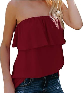 35ac050affc Security Womens Ruffles Strapless Chiffon Blouse Off Shoulder Shirts Solid  Bandeau Tube Top 3 L
