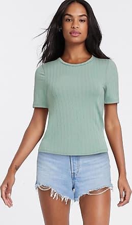 Miss Selfridge short sleeve rib t-shirt in sage-Green