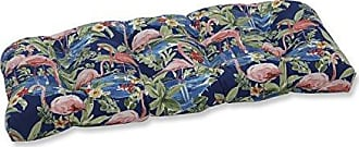 Pillow Perfect Outdoor | Indoor Flamingoing Lagoon Wicker Loveseat Cushion, Blue, 44 X 19 X 5