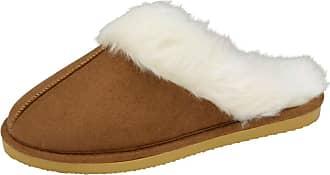 38dca04c4382 Dunlop Ladies Famous DUNLOP SARAH faux suede mule slippers with faux fur  lining   cuff CHESTNUT