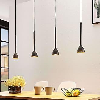 Lucande Lámpara colgante Nordwin, 4 luces, negro-dorado