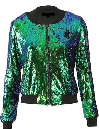 Momo & Ayat Fashions Ladies Evening Sequin Bomber Jacket UK Size 8-14 (UK 16 (EUR 44), Green Tone)