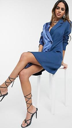 Unique21 Unique 21 - Vestito blazer in raso blu navy a contrasto