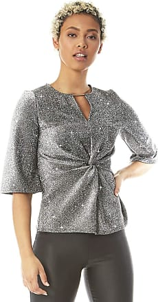 Roman Originals Women Twist Front V-Neck Glitter Top - Ladies Party Formal Special Occasion Christmas New Year Sparkle Shimmer Short Sleeve Knot Detail Top - Silver -