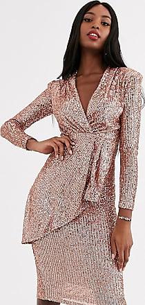 John Zack sequin wrap front maxi dress in rose gold