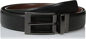 Perry Ellis Mens Portfolio Zeus Etched Buckle Reversible Belt, Black/Brown, 30