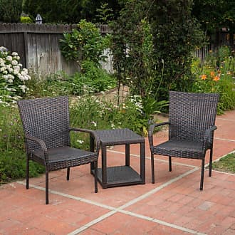 BEST SELLING HOME Hammond Wicker 3 Piece Outdoor Stacking Chair Chat Set - 300946