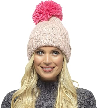 Foxbury Ladies Chunky Knit Hat with Contrast Coloured Bobble Pink