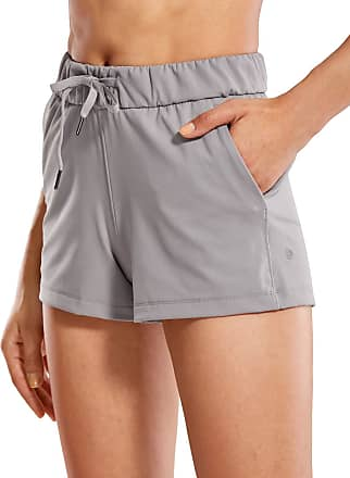CRZ YOGA Womens Medium Rise Relaxed Fit Sports Shorts with Pockets -2.5 Inches Dark Chrome 12