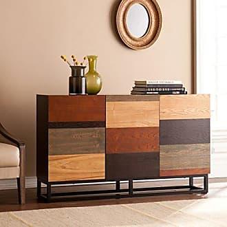 Southern Enterprises Harrison Console Credenza - Three Cabinets w/ Cord Management - Multicolor Tonal Finish