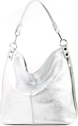 modamoda.de T177 - ital. Ladies leather shoulder bag, Colour:silver