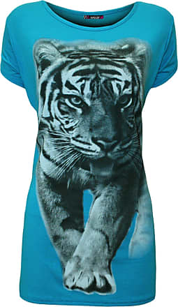 WearAll Womens Plus Tiger Animal Print Ladies Short Sleeve T-Shirt Top - Turquoise - 22-24