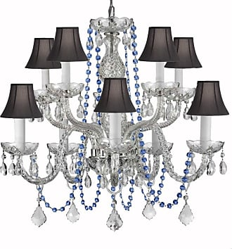 Gallery T22-2275 10 Light 24 Wide Crystal Chandelier with Blue