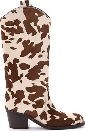 Via Roma 15 Boot in Calfskin in Cow Print