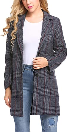 Zeagoo Women Casual Notch Lapel Plaid Single-Breasted Navy Blue Wool Blend Coat Top