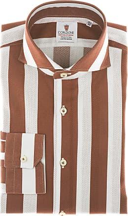 Cordone 1956 Camicia sartoriale Mod. Giro Inglese Big Stripes Bordeaux - Tessuto cotone - giro inglese - Colore bianca - Taglia 36