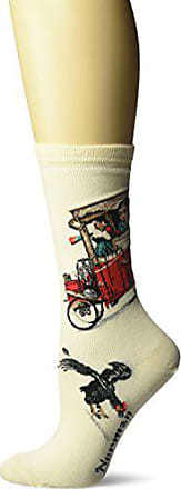 Hot Sox Womens Norman Rockwell Collection Crew Socks, Look Out Below (Cream), Shoe Size: 4-10