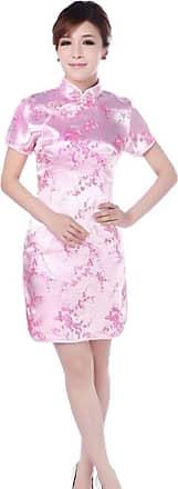 Zhuhaixmy Chinese Women Festive Classical Plum Blossom Printed Cheongsam Brocade Short Sleeves Qipao Dress XXL Pink