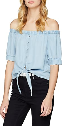 Noisy May Womens Nmendi S/s Off Shoulder Tie Shirt Noos Blouse, Blue (Light Blue Denim), 14 (Size: Large)