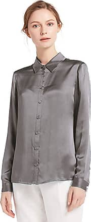LilySilk Womens 100 Charmeuse Silk Blouse for Lady Long Sleeve Top 22 Momme Pure Silk (XXL/20-22, Elegant Grey)