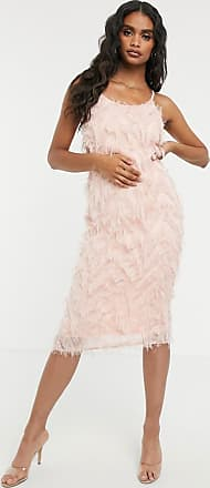 Missguided cowl neck cami midi dress with feather look in pink