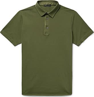 Loro Piana Cotton-piqué Polo Shirt - Army green