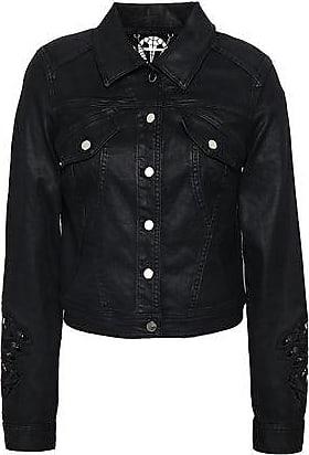 Elie Tahari Elie Tahari Woman Meggy Guipure Lace-trimmed Coated-denim Jacket Black Size M