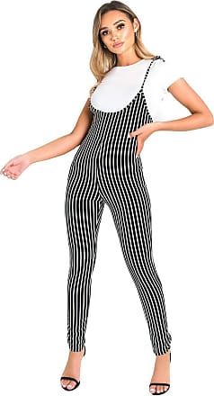 Ikrush Clara Striped Jumpsuit Black UK 1SZE